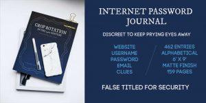 Internet Password Journal logbook