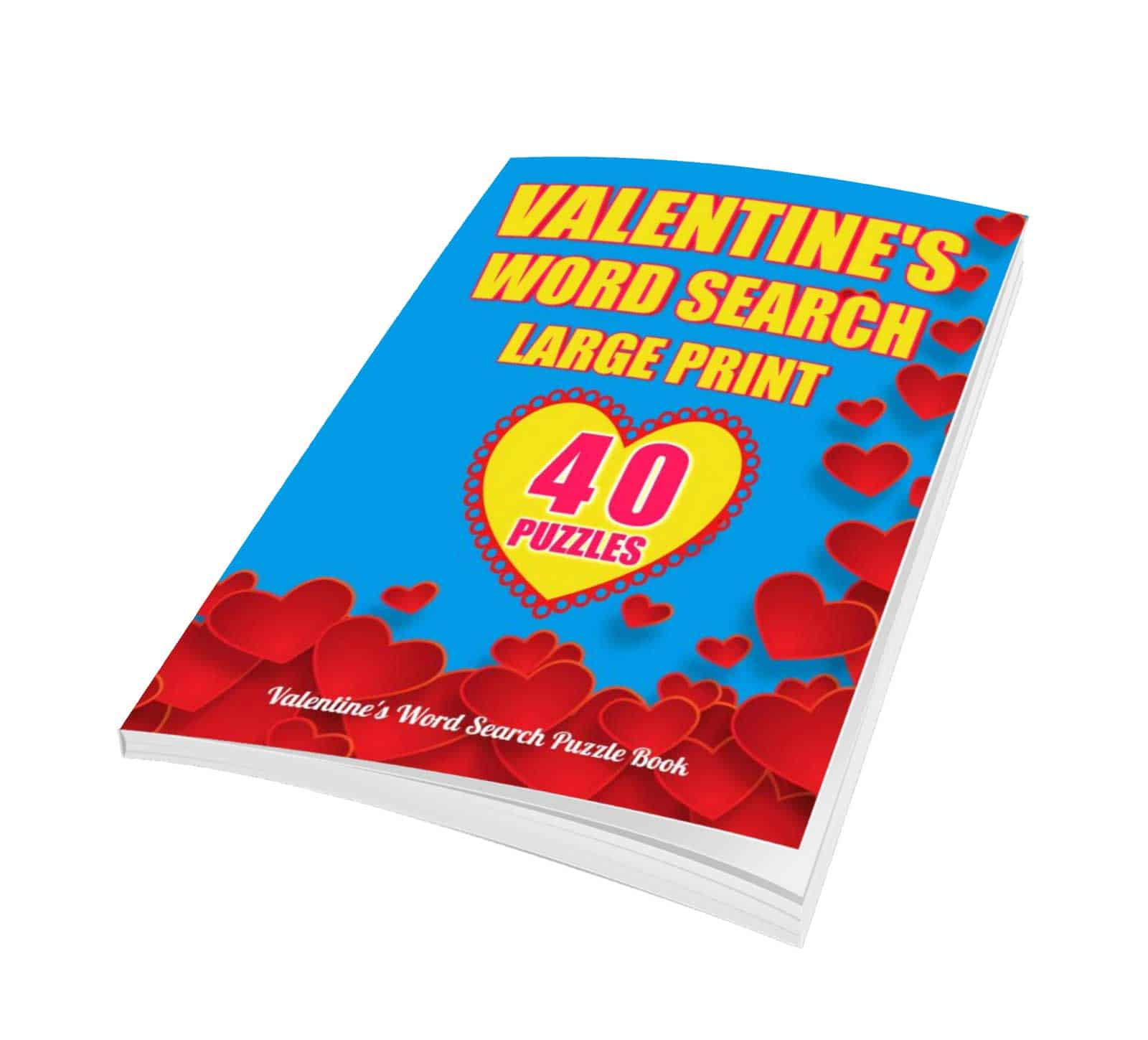 large print valentine word search