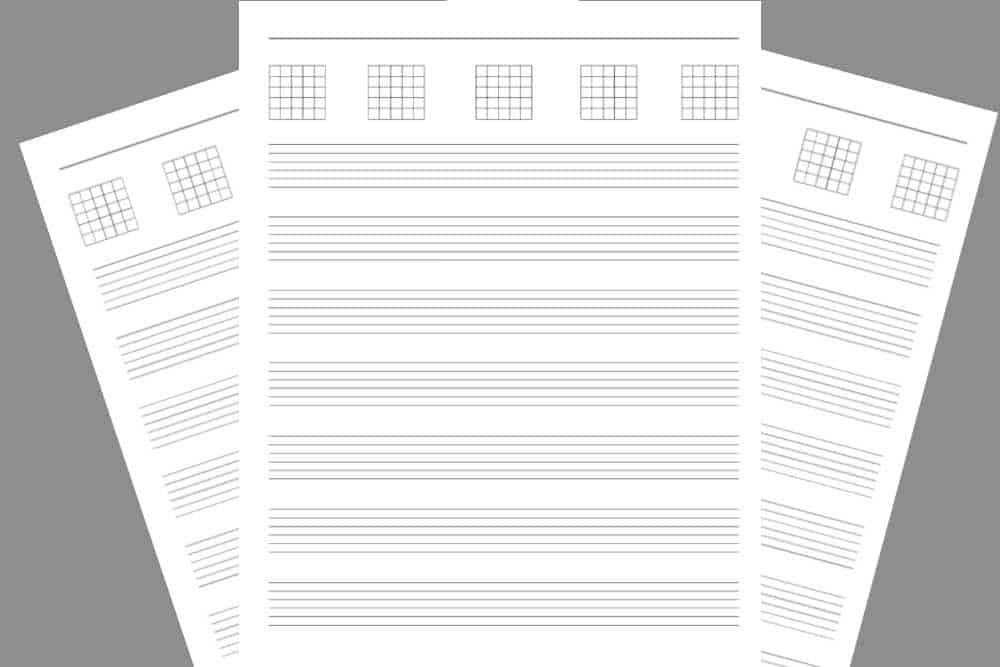 5 Blank Chord Diagrams with 6-Line Tab Staves