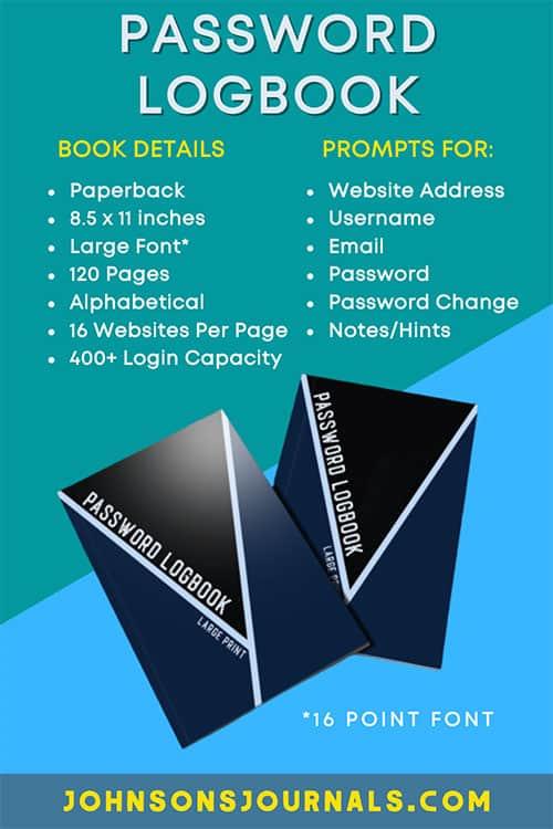 Internet Address Book and Password Logbook Large Print