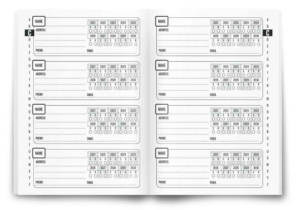 xmas card record book 10 year